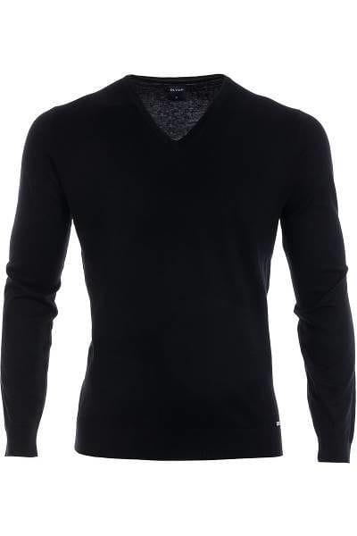 Olymp Strickpullover V-Ausschnitt Pullover - schwarz