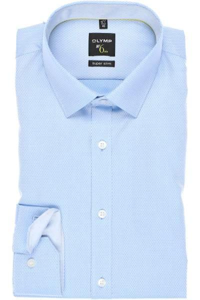 OLYMP No. Six Super Slim Hemd bleu, Faux-uni