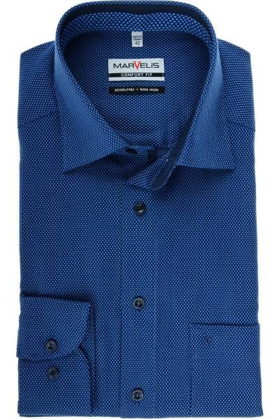 Marvelis Comfort Fit Hemd marine/bleu, Strukturiert