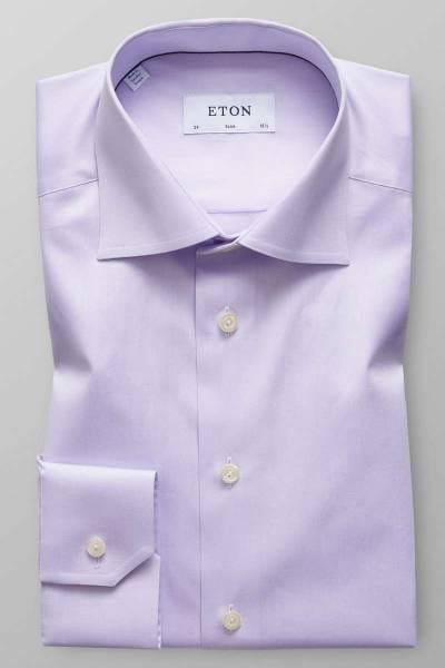 ETON Slim Fit Hemd flieder, Einfarbig