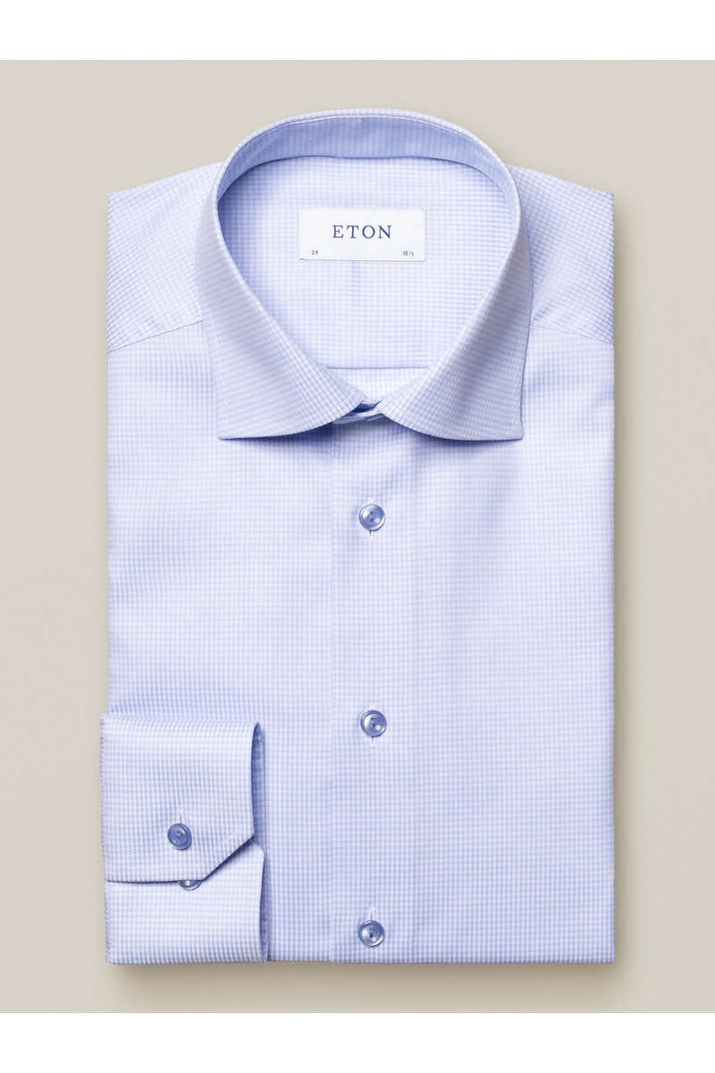 ETON Slim Fit Hemd hellblau, Kariert 43 - XL