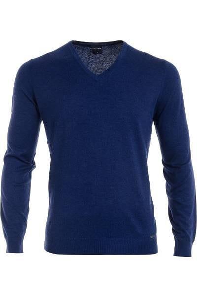 Olymp Strick - V-Ausschnitt Pullover - Seide/Kaschmir - blau