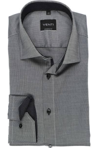 Venti Modern Fit Hemd grau/weiss, Strukturiert