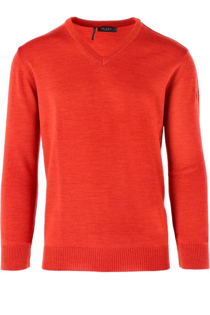 Maerz Classic Fit Pullover V-Ausschnitt orange, einfarbig 56
