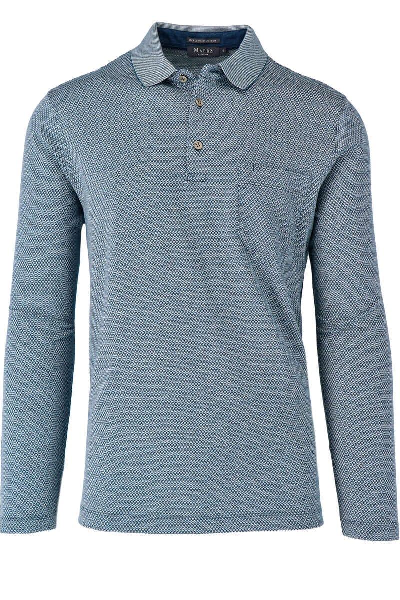 Maerz Modern Fit Sweatshirt Polokragen blau/weiss, gemustert 50