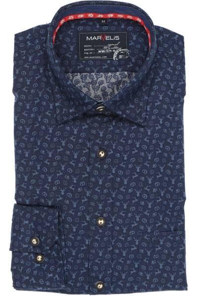 Marvelis Casual Modern Fit Trachtenhemd marine, Gemustert