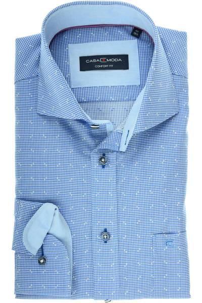 Casa Moda Comfort Fit Hemd dunkelblau/weiss, Gemustert