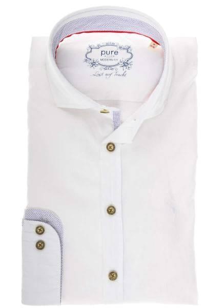 Pure Slim Fit Trachtenhemd weiss, Einfarbig