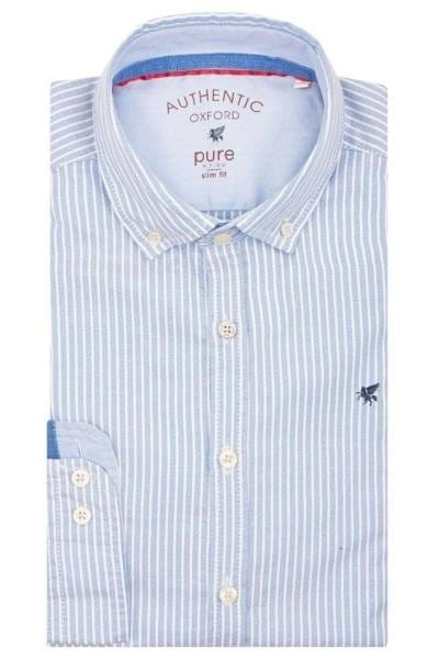 Pure Slim Fit Hemd hellblau, Gestreift