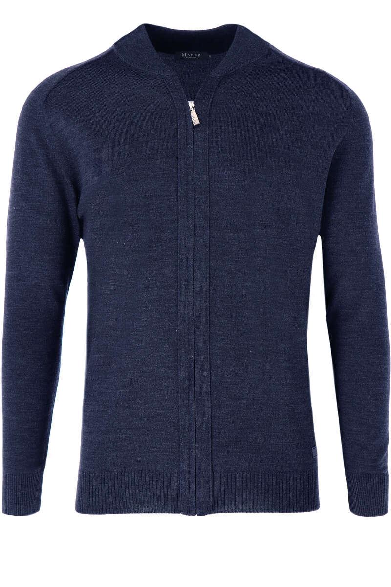 Maerz Classic Fit Cardigan Zip blau, einfarbig 52