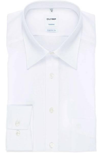 Olymp Tendenz Regular Fit Hemdweiss, Einfarbig