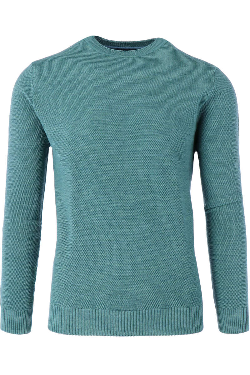 Maerz Casual Classic Fit Pullover Rundhals graugrün, einfarbig 48