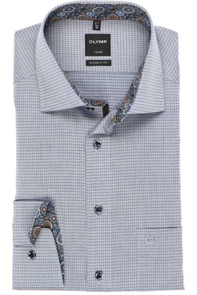 Olymp Luxor Modern Fit Hemd marine/weiss, Strukturiert
