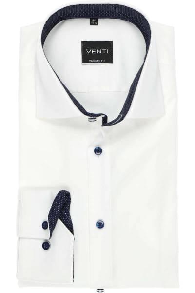 Venti Modern Fit Hemd weiss, Strukturiert