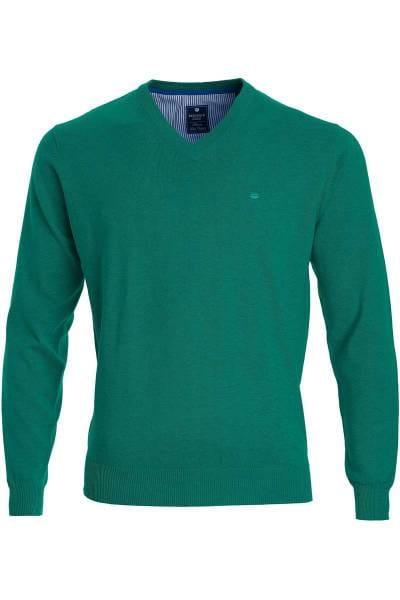 Redmond Strickpullover V-Ausschnitt grün, einfarbig