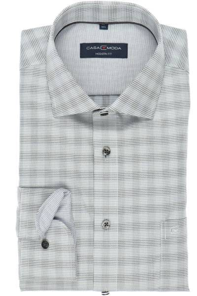 Casa Moda Modern Fit Hemd silber/schwarz/grau, Kariert