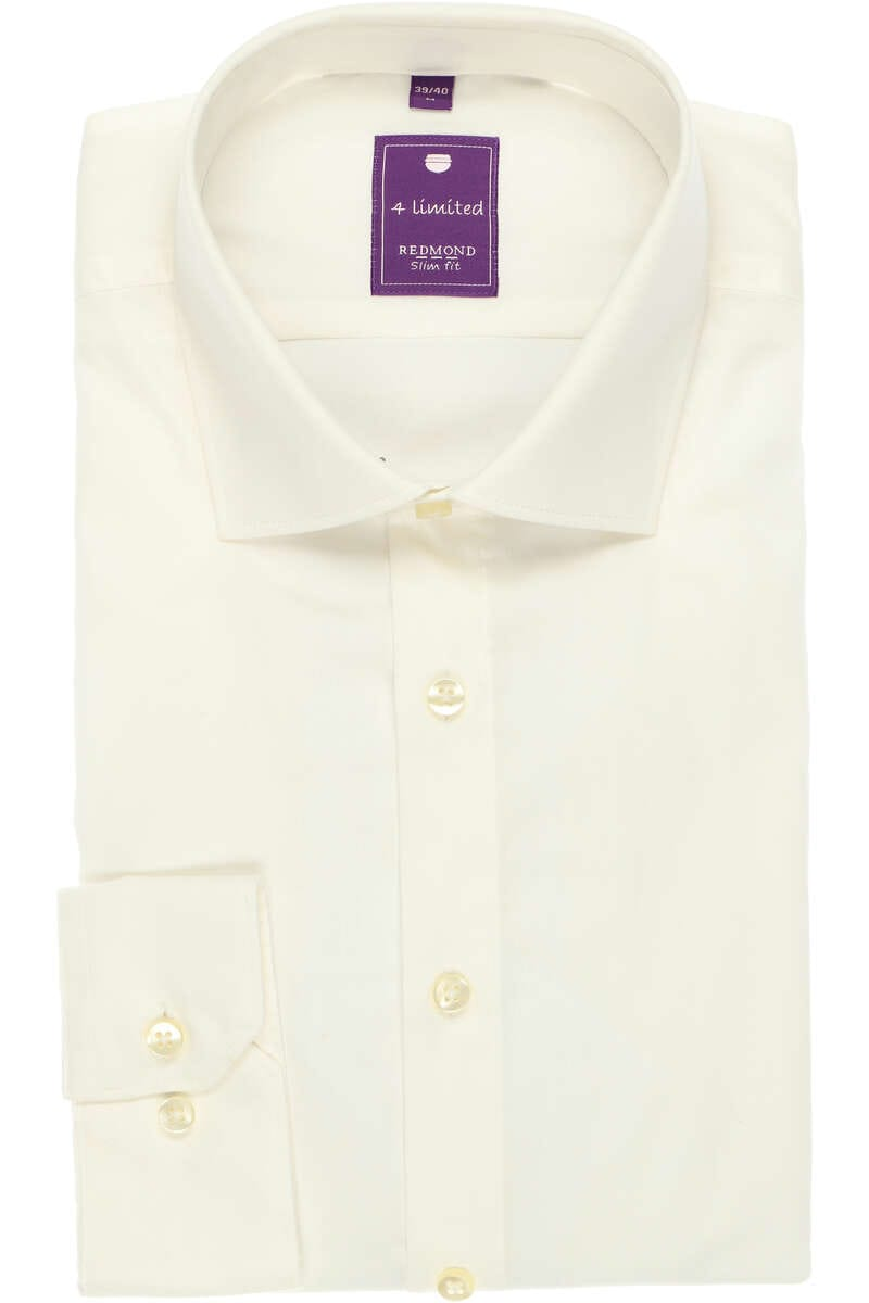Redmond Slim Fit Hemd ecru, Einfarbig M