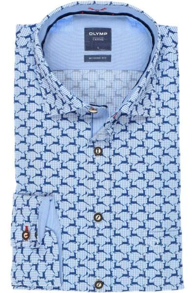 OLYMP Casual Modern Fit Trachtenhemd blau/weiss, Gemustert