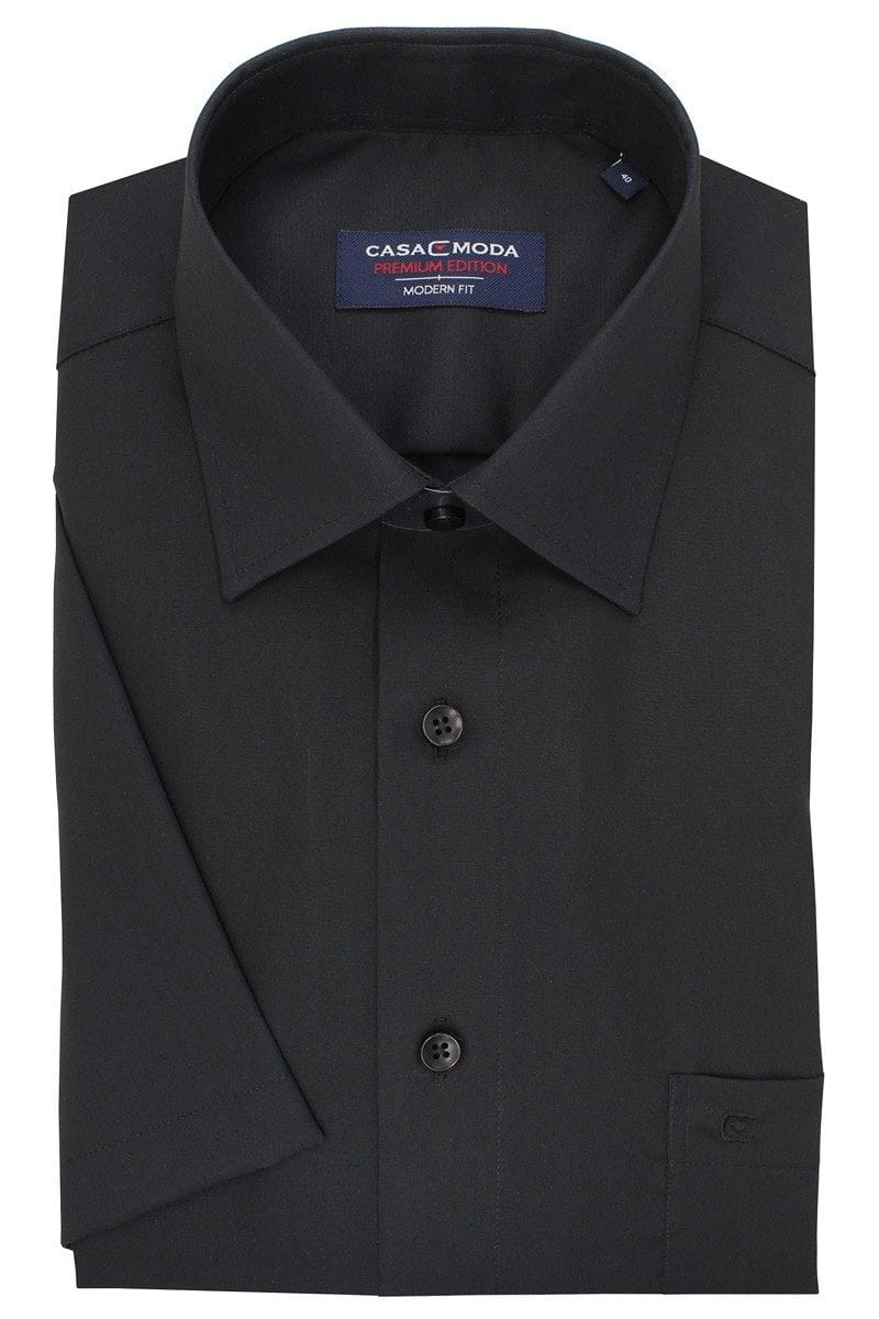 Casa Moda Hemd - Modern Fit - schwarz, Einfarbig