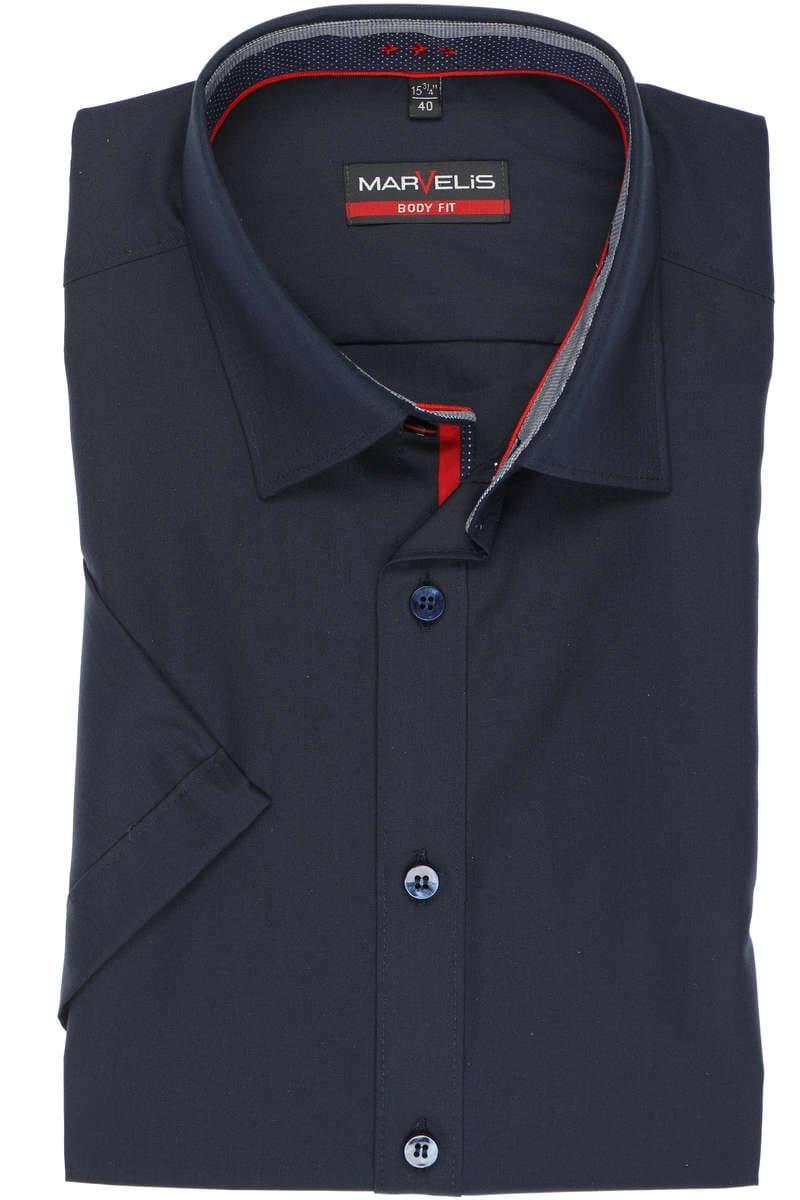 Marvelis Body Fit Hemd marine, Einfarbig