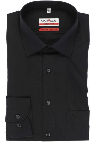 Marvelis Hemd - Modern Fit - schwarz, Einfarbig