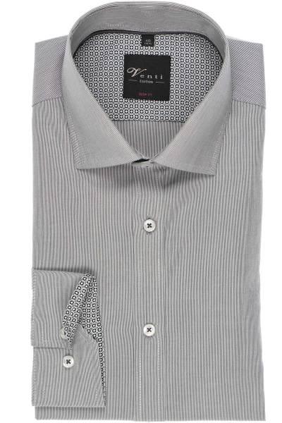 Venti Body Fit Hemd grau/weiss, Feinstreifen