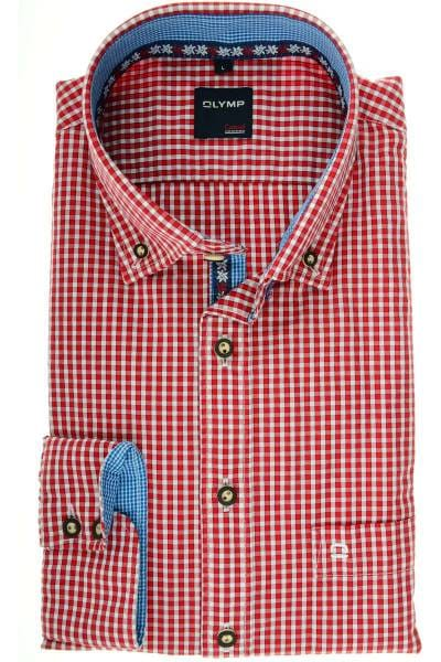 OLYMP Modern Fit Trachtenhemd rot/weiss, Kariert