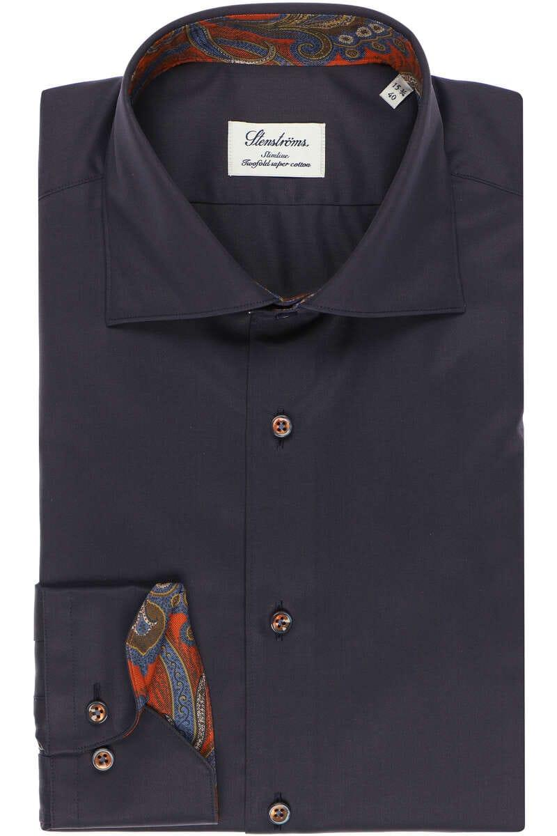Stenströms Slimline Hemd blau, Einfarbig 39 - M