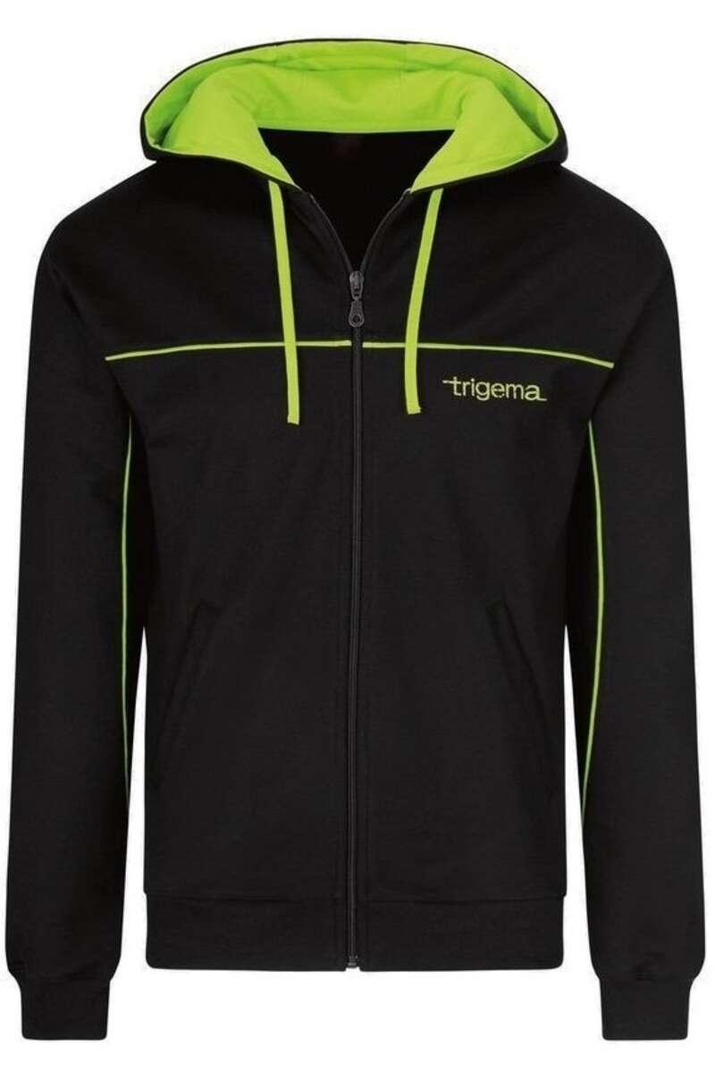 TRIGEMA Comfort Fit Sweatjacke mit Kapuze Zip schwarz/grün, einfarbig M