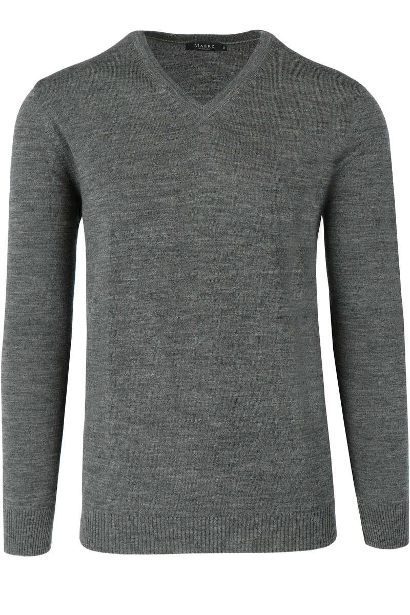 Maerz Modern Fit Pullover V-Ausschnitt grau, einfarbig 52