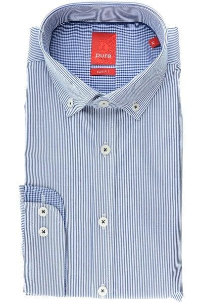 Pure Hemd - Slim Fit - dunkelblau, Gestreift