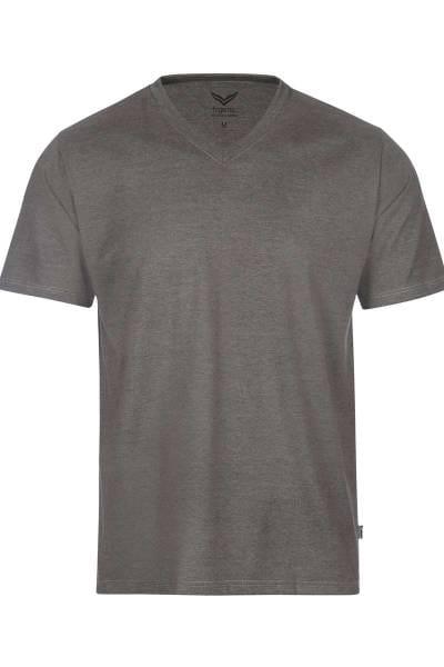 TRIGEMA T-Shirt V-Ausschnitt taupe, melange