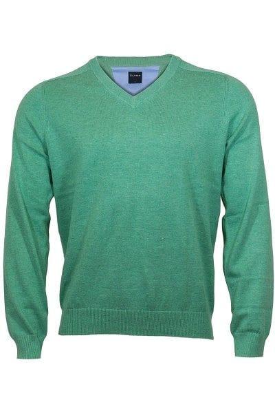 Olymp Strick - V-Ausschnitt Pullover - grün