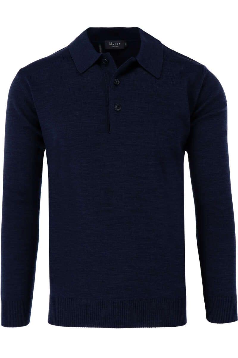 Maerz Classic Fit Pullover Polokragen blau, einfarbig 58