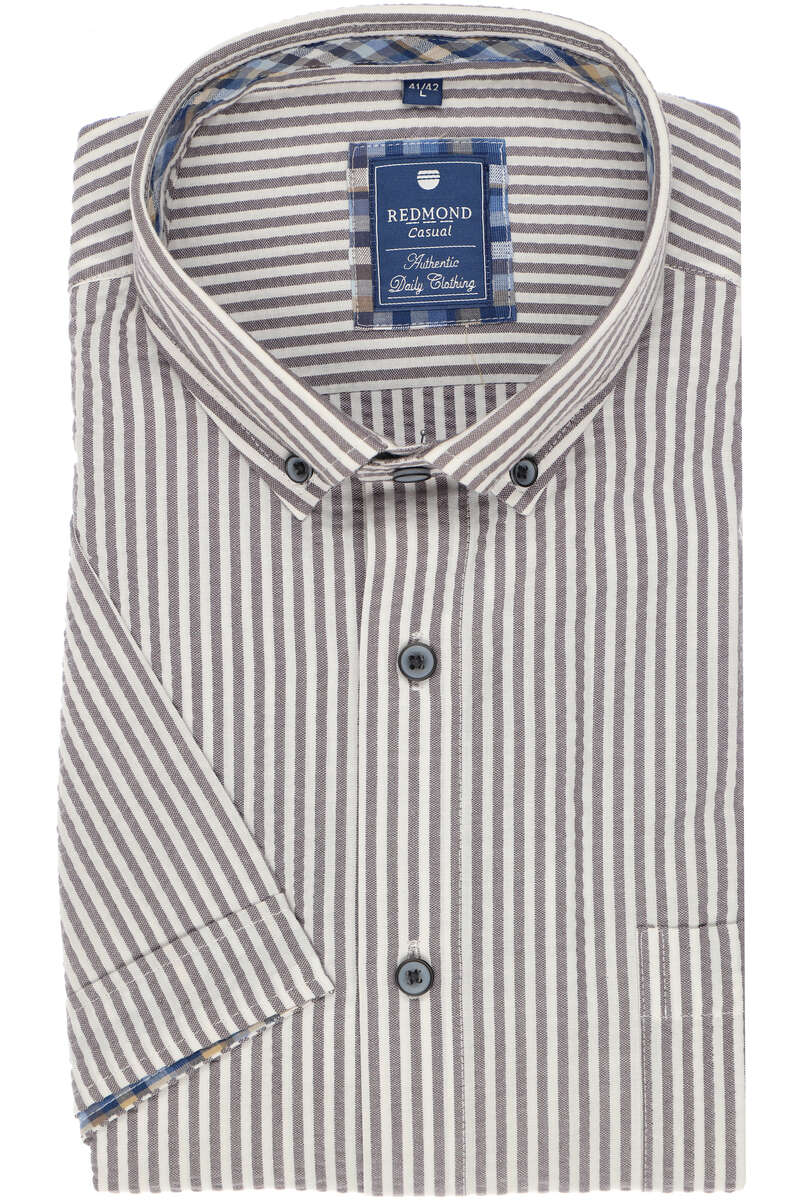 Redmond Casual Regular Fit Hemd grau/weiss, Gestreift XL