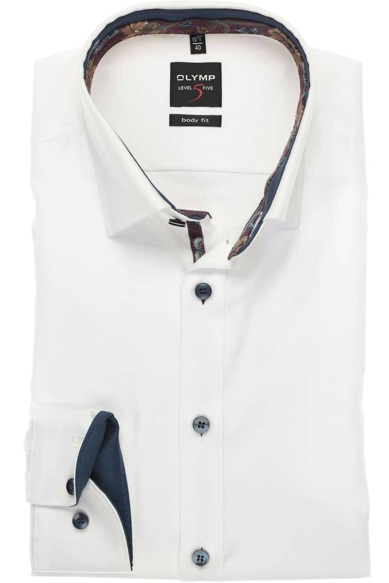 OLYMP Level Five Body Fit Hemd weiss, Einfarbig