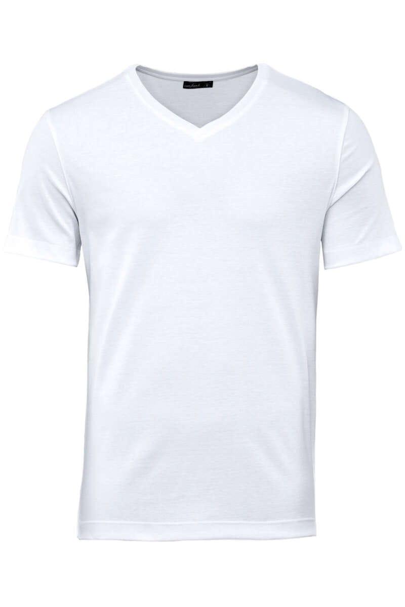 van Laack T-Shirt V-Ausschnitt weiss, einfarbig M
