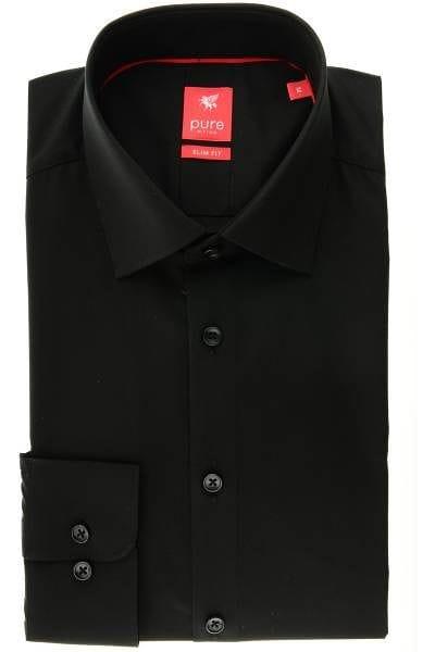 Pure Hemd - Slim Fit - schwarz, Einfarbig
