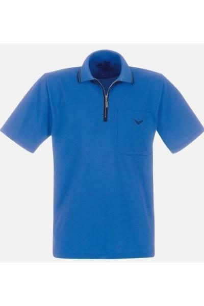 TRIGEMA Comfort Fit Poloshirt blau, Einfarbig