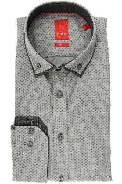 Pure Hemd - Slim Fit - grau, Gemustert