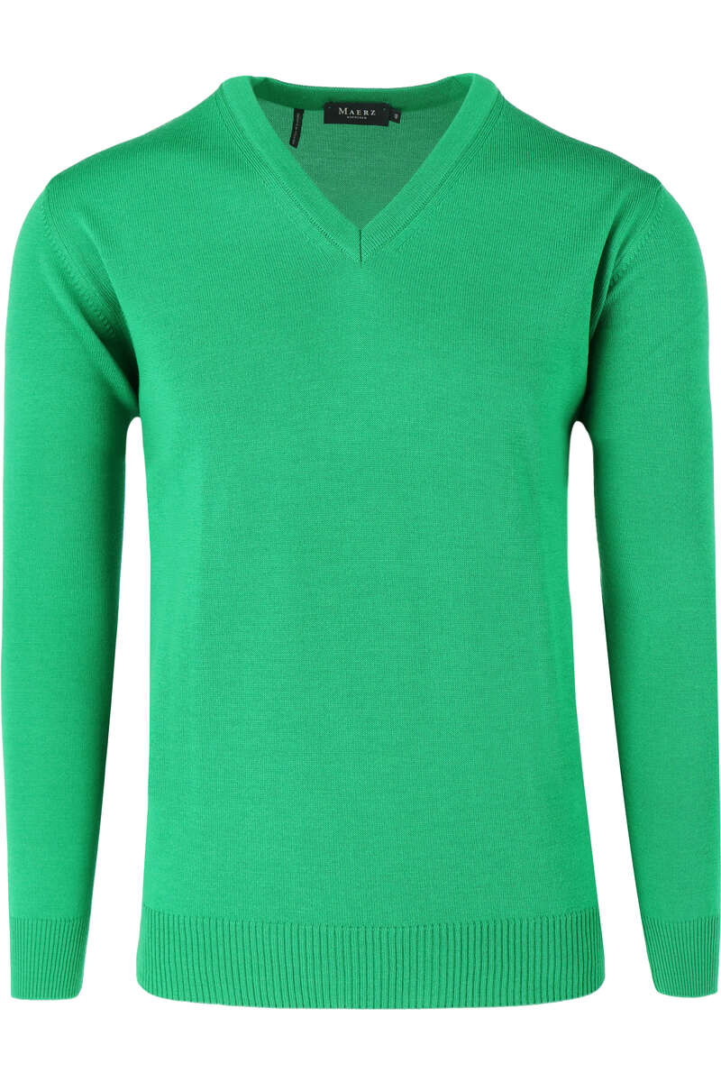 MAERZ Classic Fit Pullover V-Ausschnitt grün, einfarbig 48