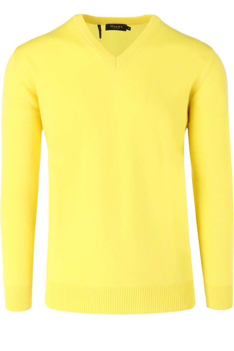 MAERZ Classic Fit Pullover V-Ausschnitt gelb, einfarbig 46
