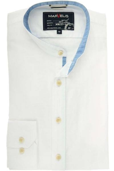 Marvelis Casual Modern Fit Hemd weiss, Faux-uni