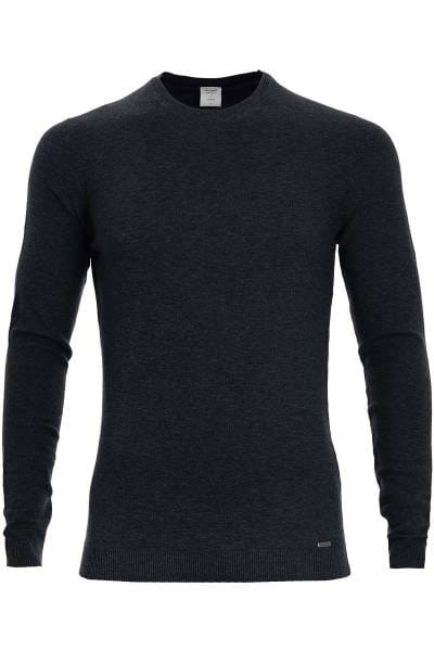 OLYMP Level Five Strickpullover Rundhals marine, einfarbig
