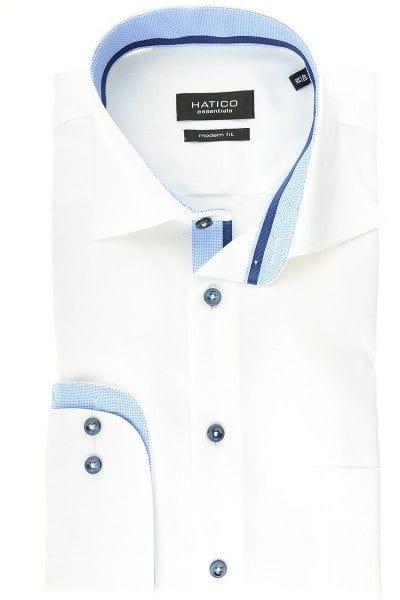Hatico Hemd - Modern Fit - weiss, Einfarbig