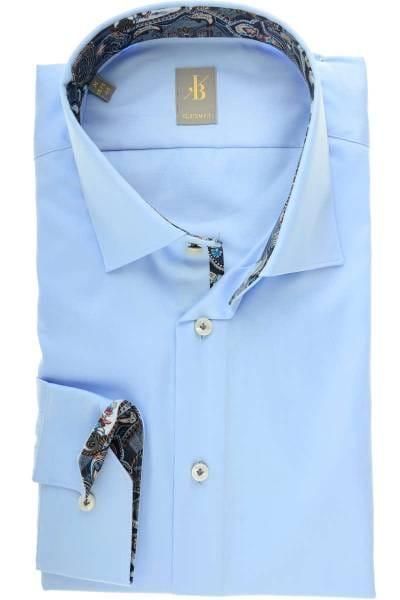 Jacques Britt Custom Fit Hemd blau, Einfarbig