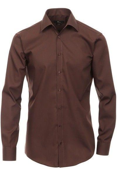 Venti Hemd - Modern Fit - braun, Einfarbig