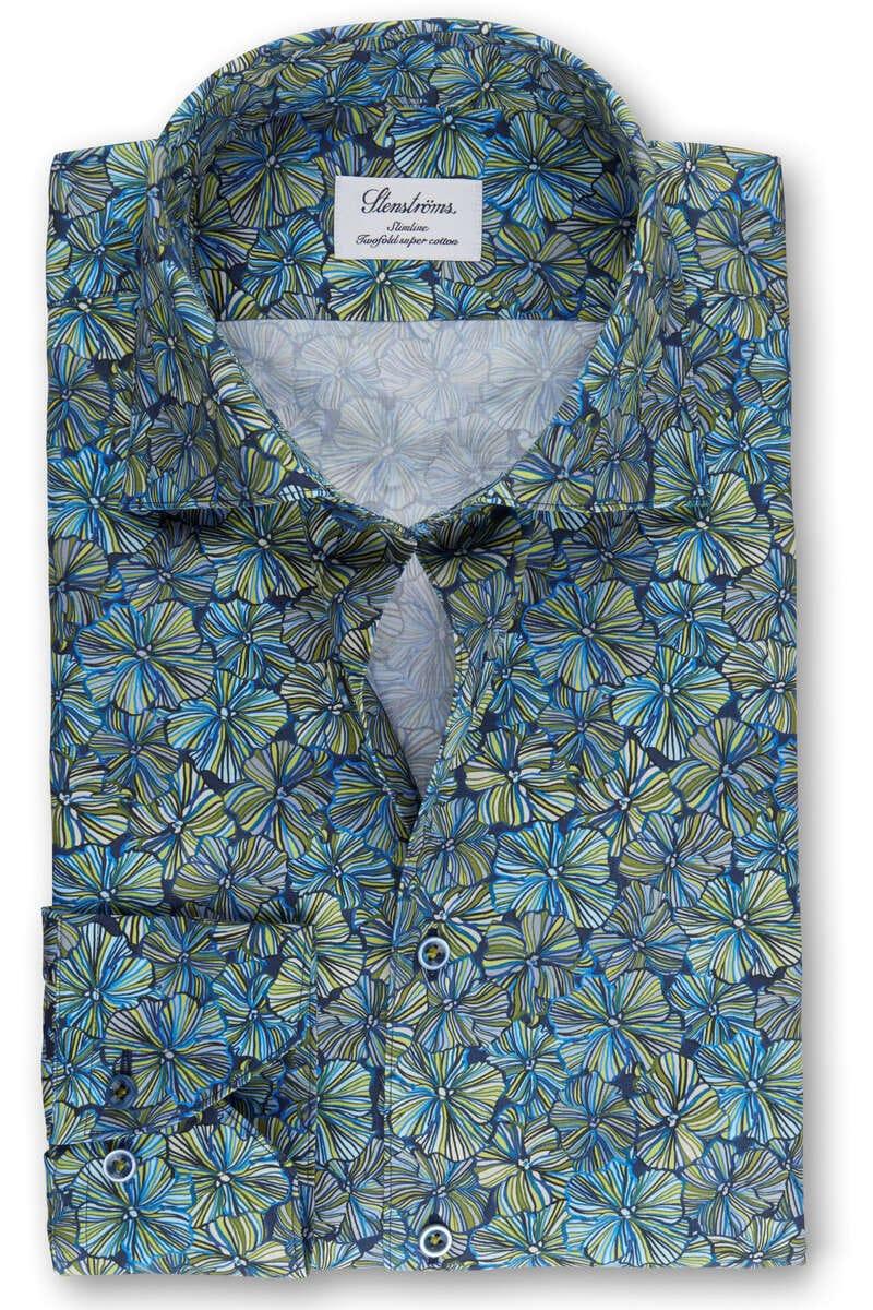 Stenströms Slimline Hemd grün/blau, Blumen (extra langer Arm) 38 - S