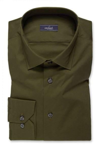 Van Laack Slim Fit Hemd oliv, Einfarbig