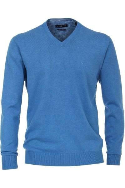 Casa Moda Strickpullover V-Auschnitt blau, einfarbig